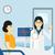 врач · пациент · кавказский · женщины · указывая · пальца - Сток-фото © rastudio