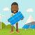 african man holding a solar panel stock photo © rastudio