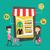 男 · 女性 · ショッピング · を · 小さな · オンラインショッピング - ストックフォト © rastudio