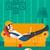 meisje · fast · food · laptop · illustratie · vrouw · met · behulp · van · laptop - stockfoto © rastudio