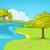 cartoon background of summer landscape stock photo © rastudio