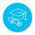 Graduation cap with paper scroll line icon. stock photo © RAStudio