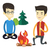 dois · amigos · sessão · em · torno · de · fogueira · camping - foto stock © rastudio