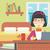 vrouw · eten · hamburger · asian · jonge · vrouw · werken - stockfoto © RAStudio