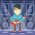 musician playing electric guitar stock photo © rastudio