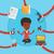 zakenvrouw · multitasking · illustratie · drukke · geslaagd · kantoor - stockfoto © rastudio