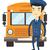 ônibus · escolar · motorista · caucasiano · feliz · em · pé · amarelo - foto stock © rastudio