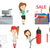 vector set of shopping people and sportswomen stock photo © rastudio