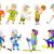 sportos · rajzfilmfigura · gyűjtemény · vektor · illusztrációk · gyerekek · játszanak - stock fotó © rastudio