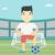 vektor · labdarúgó · kockák · tér · labda · férfi - stock fotó © rastudio