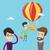 businessman hanging on balloon vector illustration stock photo © rastudio