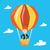 young woman flying in hot air balloon stock photo © rastudio