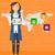 kadın · tablet · sosyal · ağ · kullanıcı - stok fotoğraf © rastudio