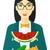 女性 · 食べ · スイカ · 興奮した · 立って · 表 - ストックフォト © rastudio