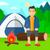 homem · sessão · fogueira · camping · jovem - foto stock © rastudio