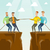 deux · groupes · gens · d'affaires · corde · falaise - photo stock © rastudio
