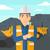 miner with mining equipment on background stock photo © rastudio