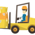 warehouse worker moving load by forklift truck stock photo © rastudio