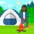 desenho · animado · acampamento · fogo · madeira · projeto · cor - foto stock © rastudio