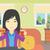 vrouw · eten · hamburger · asian · jonge · vrouw · vergadering - stockfoto © RAStudio