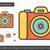 kamera · redőny · vonal · ikon · háló · mobil - stock fotó © rastudio