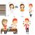 vector set of people eating and drinking stock photo © rastudio