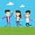 group of joyful young people jumping stock photo © rastudio