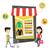アジア · 人 · ショッピング · を · 小さな · オンラインショッピング - ストックフォト © rastudio