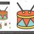 ドラム · 行 · アイコン · ベクトル · 孤立した · 白 - ストックフォト © rastudio