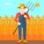 фермер · грабли · человека · рабочих · листьев · осень - Сток-фото © rastudio