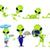 vector · establecer · funny · verde · ilustraciones · posando - foto stock © RAStudio