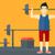 rajz · férfi · súlyemelő · illusztráció · erős · lift - stock fotó © rastudio