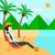 mulher · de · negócios · trabalhando · laptop · praia · caucasiano · branco - foto stock © rastudio