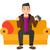 hombre · jugando · videojuegos · feliz · sesión · sofá - foto stock © RAStudio