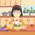 menina · alimentação · cantina · mesa · de · jantar · ilustração · criança - foto stock © rastudio