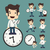 set of businessman and clock stock photo © ratch0013