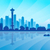seattle city skyline silhouette background stock photo © ray_of_light