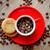 kávé · piros · csésze · közelkép · fából · készült · kávé - stock fotó © razvanphotos
