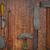 vintage kitchen utensils over wooden wall stock photo © reddaxluma