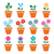 flower plant in pot vector colorful icons set stock photo © redkoala