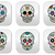 mexican sugar skull dia de los muertos buttons set on white background stock photo © redkoala