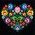 polish slavic folk art art heart with flowers on black   wzory lowickie wycinanka stock photo © redkoala