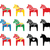 swedish dala horse vector icons set stock photo © redkoala