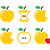 yellow apple apple core bitten half vector icons stock photo © redkoala