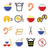chinese take away food icons   pasta rice spring rolls fortune cookies stock photo © redkoala