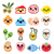 kawaii cute food characters   meat vegetables diary icons set stock photo © redkoala