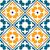 spanish tile pattern portuguese or moroccan tiles design seamless in dark green and orange stock photo © redkoala
