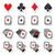 playing cards poker gambling icons set stock photo © redkoala