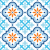 spanish tile pattern moroccan tiles design seamless blue and orange background stock photo © redkoala