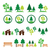 trees forest park vector green icons set stock photo © redkoala